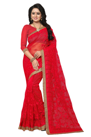 Light Red Color Net Saree - maria-296