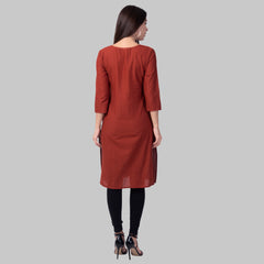 Wine Color Cotton Women's Stitched Kurti - wine-cotton-kurta