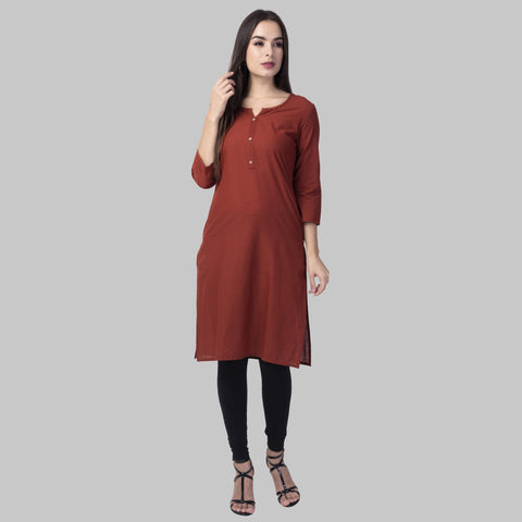 Maroon Color Cotton Women's Stitched Kurti - maroon-cotton-kurta