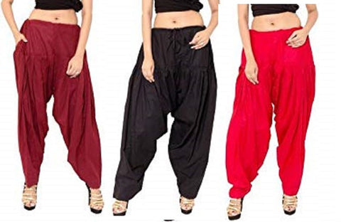 COMBOS  - Maroon And Black And Red Color Cotton Stitched Women Patiala Pants - maroon_black_red