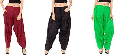 COMBOS - Multi Color Cotton Stitched Women Patiala Pants - maroonblackgreen
