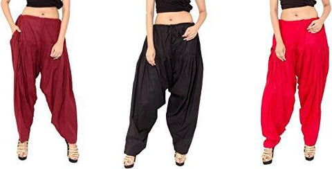 COMBOS - Multi Color Cotton Stitched Women Patiala Pants - maroonblackred