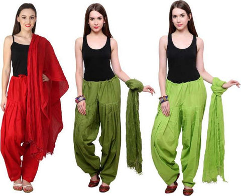 COMBOS - Maroonmehendiparrot Color Cotton Stitched Women Patiala Pants With Dupata - Maroonmehendiparrot