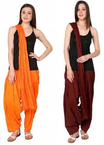 COMBOS - Maroonorange Color Cotton Stitched Women Patiala Pants With Dupata - Maroonorange