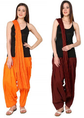 Buy COMBOS - Maroonorange Color Cotton Stitched Women Patiala Pants With Dupata