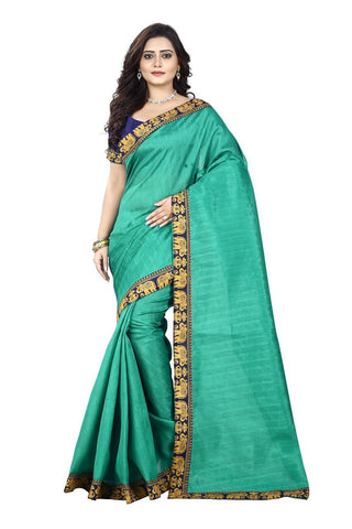 Green Color Bhagalpuri Silk Saree - matka-green-1