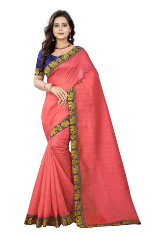 Peach Color Bhagalpuri Silk Saree - matka-peach-1
