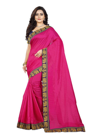 Pink Color Bhagalpuri Silk Saree - matka-pink-1