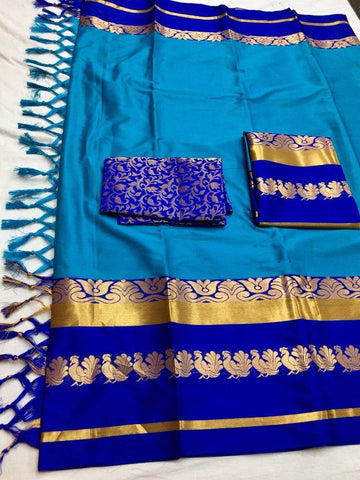 Sky Blue Color Cotton Silk Saree - mayurika-plus-skyblue