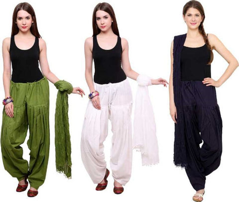 COMBOS - Mehendiwhitenavyblue Color Cotton Stitched Women Patiala Pants With Dupata - Mehendiwhitenavyblue