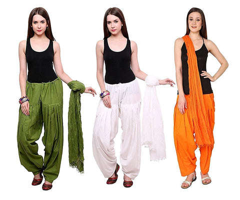 COMBOS - Mehendiwhiteorange Color Cotton Stitched Women Patiala Pants With Dupata - Mehendiwhiteorange