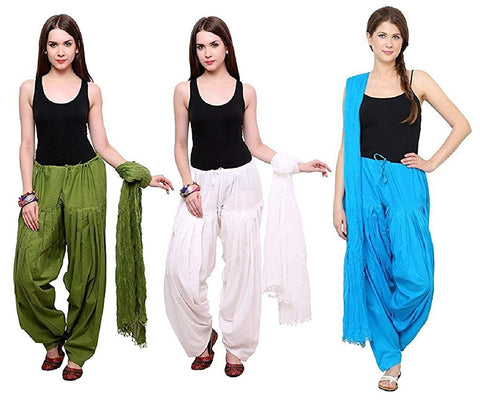 COMBOS - Mehendiwhiteskyblue Color Cotton Stitched Women Patiala Pants With Dupata - Mehendiwhiteskyblue