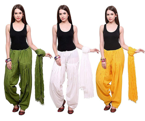COMBOS - Mehendiwhiteyellow Color Cotton Stitched Women Patiala Pants With Dupata - Mehendiwhiteyellow