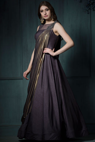 Dark Purple Color Bamboo Silk Stitched Gown - mellory-3100