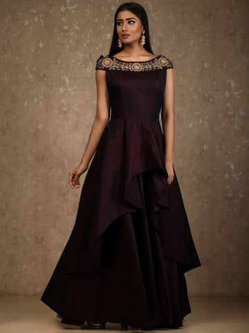 Dark Maroon Color Satin Tafeta Stitched Gown - mellory-3101