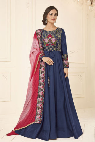 Dark Blue Color Satin Tafeta Stitched Gown - mellory-3102