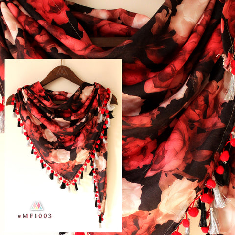 Black And Red Color Polyester Stole - mf1003