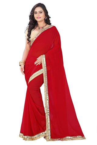 Red Color Faux Georgette Saree - mirror-red-1