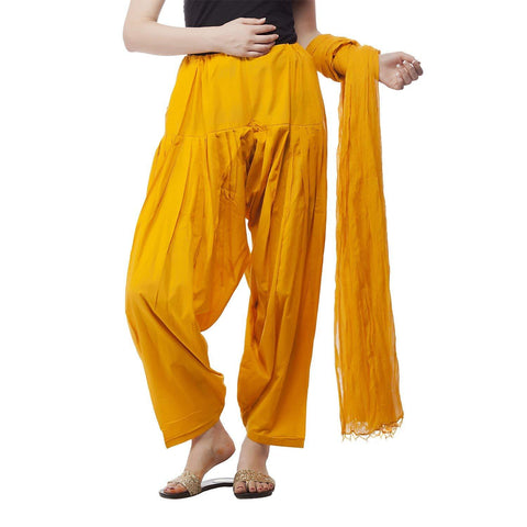 COMBOS - Musterd Color Cotton Stitched Women Patiala Pant With Duppata - Musterd