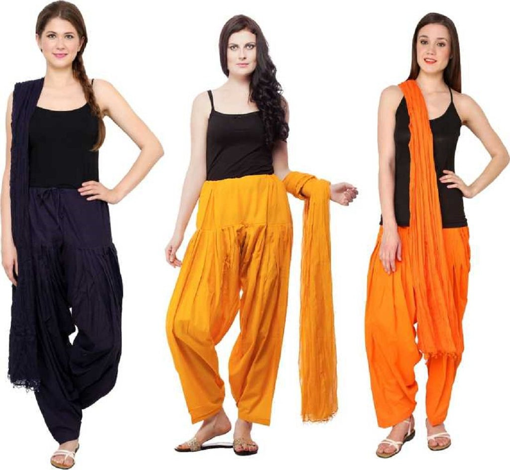 Buy COMBOS - Musterdblueorange Color Cotton Stitched Women Patiala Pants With Dupata