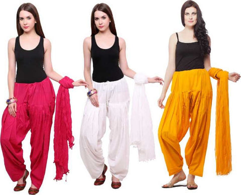 COMBOS - Musterd White Rani Color Cotton Stitched Women Patiala Pants With Dupata - MusterdWhiteRani