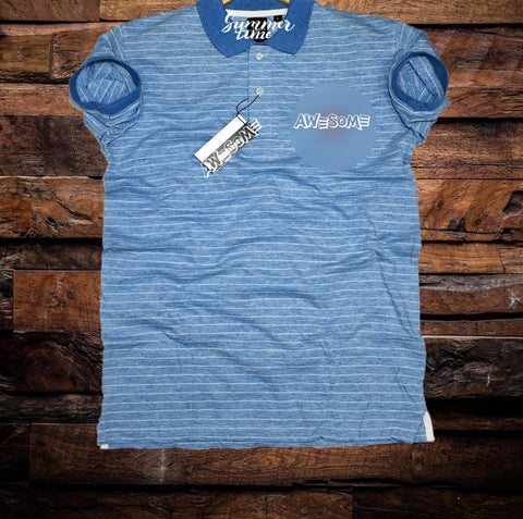 Blue Color Cotton Men T-Shirt - natido-200