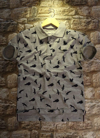 Grey Color Cotton Men T-Shirt - natido-205