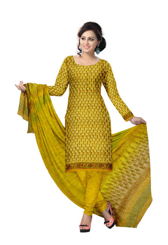 Yellow Color Cotton UnStitched Salwar  - navjeetarts-36