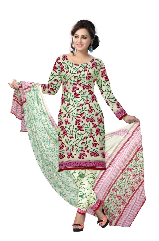 Buy Off White Color Cotton UnStitched Salwar