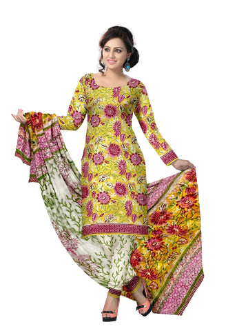 Multi Color Cotton UnStitched Salwar  - navjeetarts-40