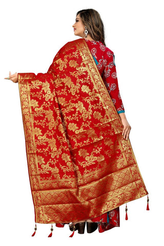 Red Color Crepe Women's Jacquard Dupatta - nb101