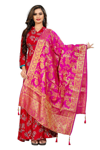 Pink Color Crepe Women's Jacquard Dupatta - nb102