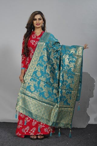 Blue Color Crepe Women's Jacquard Dupatta - nb103