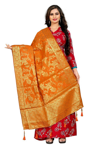 Orange Color Crepe Women's Jacquard Dupatta - nb104