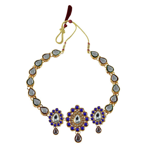 Blue Color Stone Stud-Gold Platted Brass Necklace - nec1082