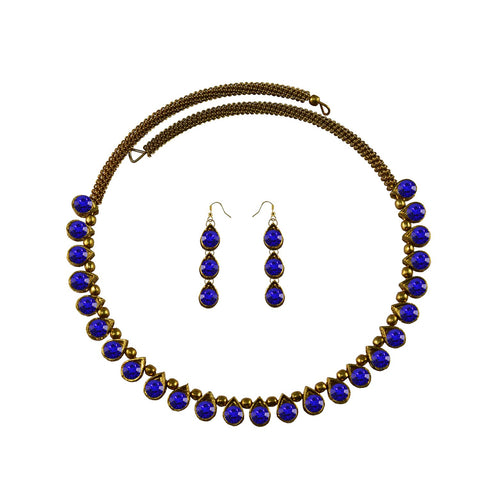 Blue Color Stone Stud-Gold Platted Brass Necklace Set - nec1626