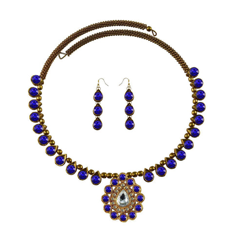 Blue Color Stone Stud-Gold Platted Brass Necklace Set - nec1970