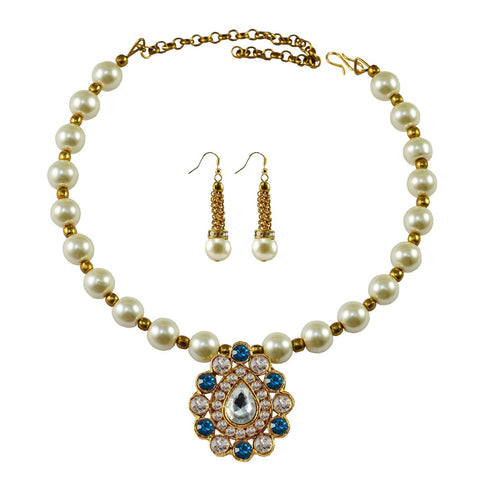 White Color Moti Stud-Gold Platted Brass Necklace Set - nec1979