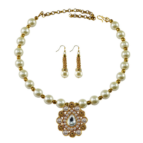 White Color Moti Stud-Gold Platted Brass Necklace Set - nec1981
