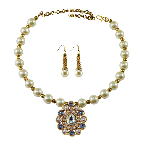 White Color Moti Stud-Gold Platted Brass Necklace Set - nec1983