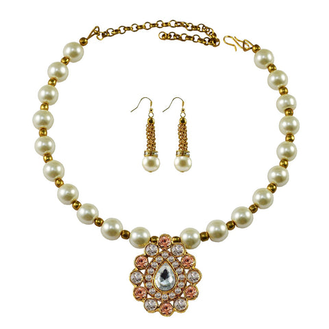 White Color Moti Stud-Gold Platted Brass Necklace Set - nec1985