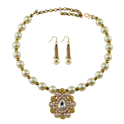White Color Moti Stud-Gold Platted Brass Necklace Set - nec1987