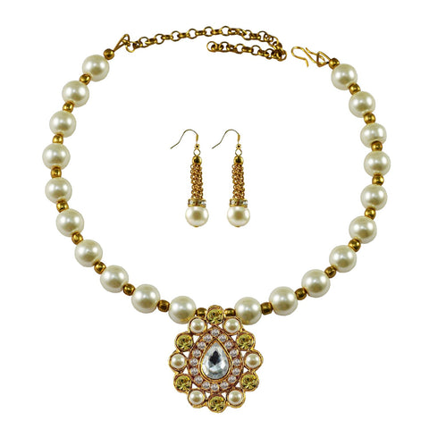 White Color Moti Stud-Gold Platted Brass Necklace Set - nec1988