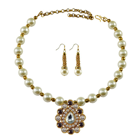 White Color Moti Stud-Gold Platted Brass Necklace Set - nec1989