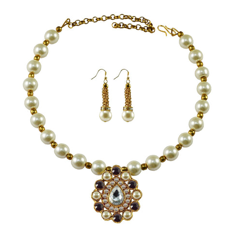 White Color Moti Stud-Gold Platted Brass Necklace Set - nec1990