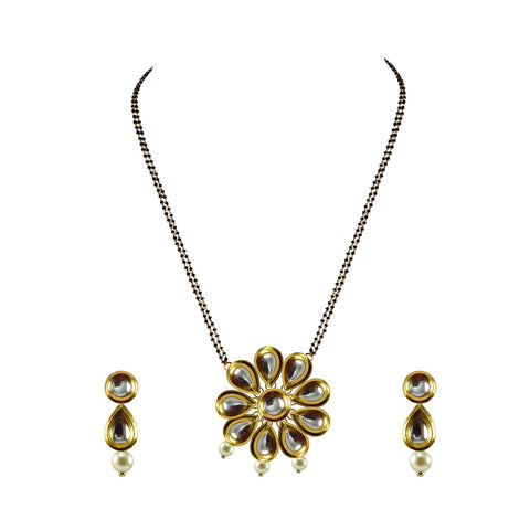 Golden Color Kundan Stud-Gold Platted Brass Mangalsutra - nec3717