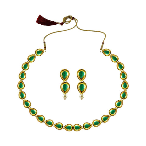 Golden Color Brass Kundan Stud-Gold Platted Necklace Set - nec4972