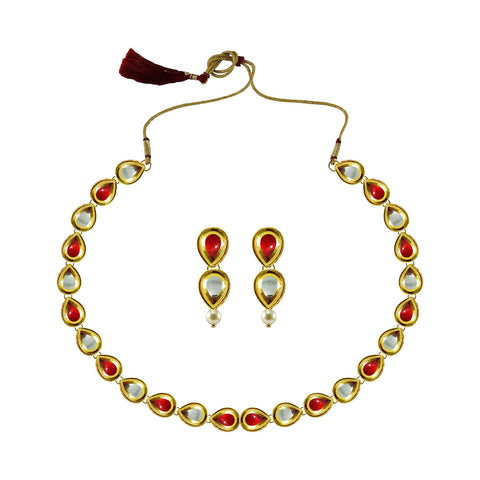Golden Color Brass Kundan Stud-Gold Platted Necklace Set - nec4974