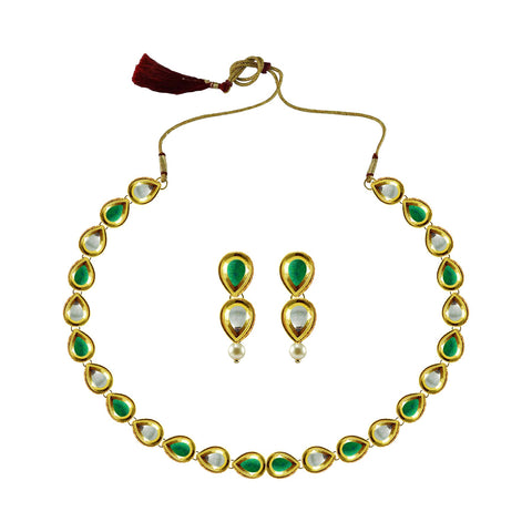 Golden Color Brass Kundan Stud-Gold Platted Necklace Set - nec4975