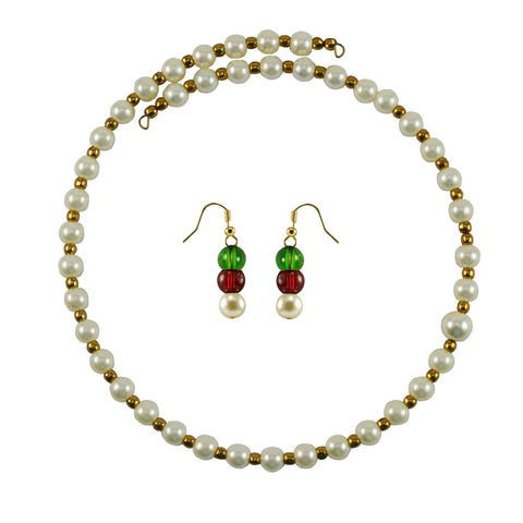 White Color Brass Moti Stud Necklace Set - nec4992